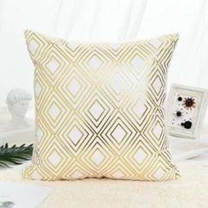 Gold and white decor pillow case